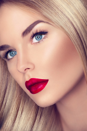 43698744 - beautiful girl with healthy blond hair and perfect makeup